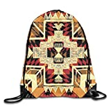 Drawstring Backpack Gym Bags Storage Backpack, Native American Inspired Retro Aztec Pattern Mod...