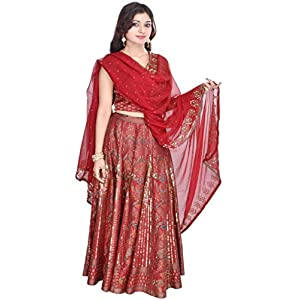 Geroo Women's Silk Lehenga Choli (Red, Free Size)