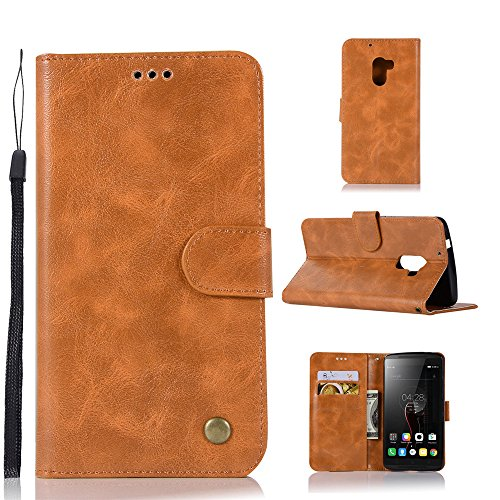kelman Hülle für Lenovo A7010 / Lenovo Vibe K4 Note Hülle Schutzhülle PU Leder + Soft Silikon TPU Innere Schale Brieftasche Flip Handyhülle - [JX04/Golden]