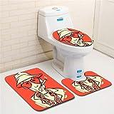 IMON LL Tappetini3Pcs / Set tappetini da Bagno, tappetini da Bagno Antiscivolo con Tappetino da toeletta per Toilette Stampati 3D per la Decorazione Domestica,7,45 * 75cm