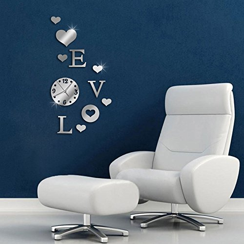 Vetrineinrete® orologio da parete adesivo sticker componibile tridimensionale 3d effetto specchio decorazione murales scritta love verticale 0429s