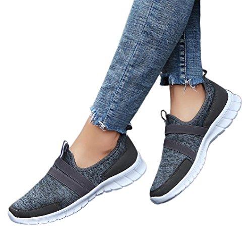 Mode Turnschuhe,❤️Unisex Absolute Männer Frau Laufschuhe Atmungsaktiv Turnschuhe Sneaker Männer Casual Sportschuhe Patchwork Reise Schnürschuhe Sportschuhe (EU:38/CN:39, Dunkelgrau)