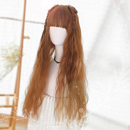 Chang Xiang Ya Shop Perruque Femme Couleur Caramel Longue Perruque ondulée Moelleux Mode Douce Moelleux Naturel réaliste Longue Perruque