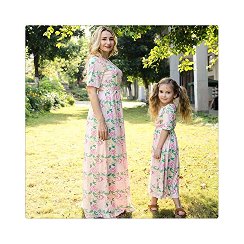 Fashion Mother and Daughter Boho Clothes Parent-Child Short Sleeve Flower Summer Long Dress Family Matching Outfits Mother M (Kids Heels Up Dress)