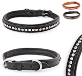 Pear - Tannery Luxury-Line Hundehalsband aus weichem Vollrindleder, Versehen mit Einer Runden-Kristall-Verzierung mittig, XXS 24-34cm, schwarz