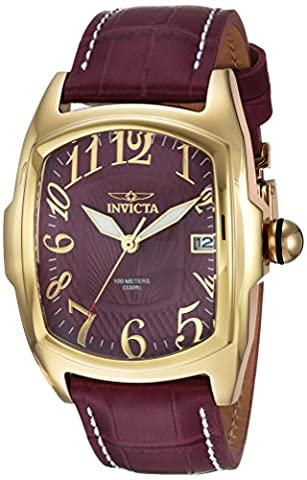 Invicta Men's 'Lupah' Automatic Gold-Tone and Leather Casual Watch, Color:Red (Model: 24316)