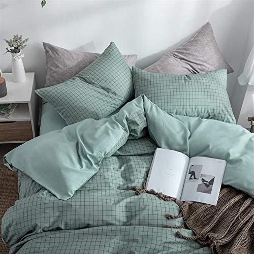 UOUL Bettwäscheset Aus Gewaschener Baumwolle 4-teiliges Schlafzimmer-Plaid Schwarz Weiß Atmungsaktiv Komfort Weich Erwachsen Voll \ Königin,Green,Twin -
