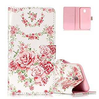 Aeeque Galaxy J5 2017 Cover, Premium PU Leather Bookstyle Flip Stand Phone Case with Magnetic Clasp/Credit Card Slots for Samsung Galaxy J5 2017 5.2 inch - Pretty Pink Rose