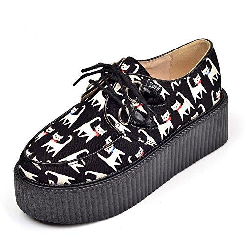 RoseG Damen Katze Flache Plateauschuhe Gote Punk Creepers Schuhe Schwarz Size39