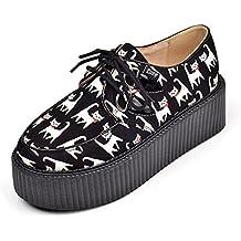 RoseG Damen Katze Flache Plateauschuhe Gote Punk Creepers Schuhe