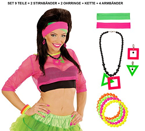 e Set 9teilig Neon 2 Stirnbänder Halskette 2 Ohringe und 4 Armbänder Perlen ()