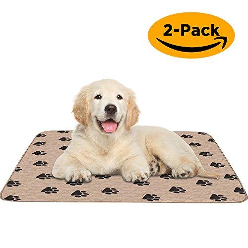 Pupouse Waschbar Hund Pee Pad, Pet Training Matte Wiederverwendbar Wasserdicht Schnell einziehende Maschinenwaschbar Bett Pad, 91,4x 78,7cm–2Pack für Bett Feuchte, Matratze Schutz