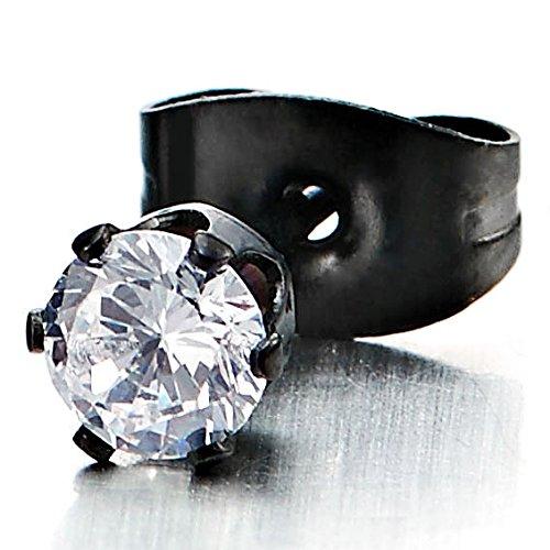 3-6MM Zircon Cubique - Noir Clous d'oreille - Boucles d'oreilles Homme Femme - Acier Inoxydable - 1 Paire Pierre Taille: 6MM