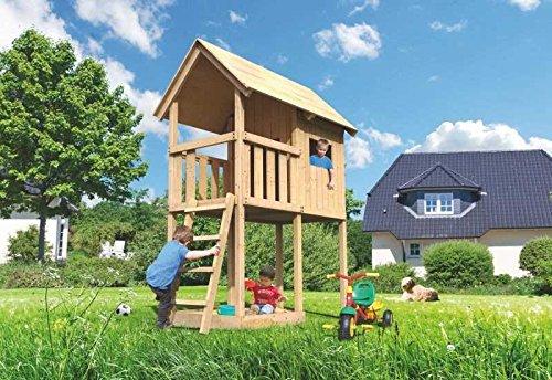 Karibu Spielturm Petterson Außenmaß (B x T): 107 x 202 cm Dachstand (B x T): 137 x 209 cm Podesthöhe: 120 cm Gesamthöhe: 291 cm Pfostenstärke: 68 x 68 mm Wandstärke: 18 mm Dacheindeckung: 18 mm Massivholz Ausführung: Fichte, naturbelassen
