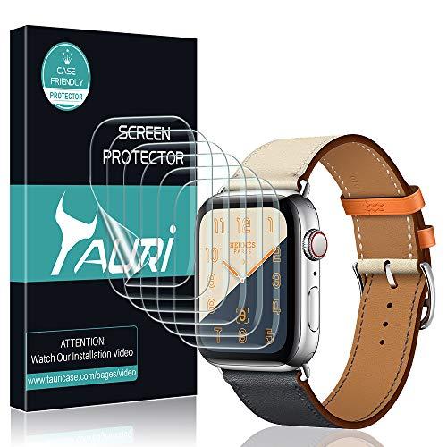 TAURI Schutzfolie Flüssigkeit Haut für Apple Watch Series 4 44mm Schutzfolie [6 Stücke] Flüssigkeit Haut [Wasser Installation] Klar HD TPU Folie Displayschutzfolie [Einfache Installation]