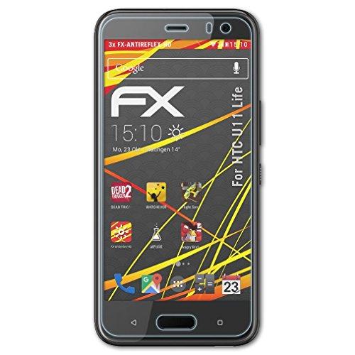 atFolix Schutzfolie kompatibel mit HTC U11 Life Bildschirmschutzfolie, HD-Entspiegelung FX Folie (3X)