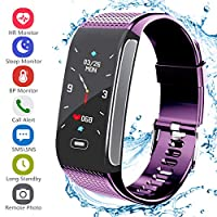 Janker Fitness Tracker, Smart Watch Bracelet Wristband With Pedometer Heart Rate Monitor Step Calorie Distance Track Waterproof Call SMS SNS Remind For Men Women Kids Compatible Android IOS Purple