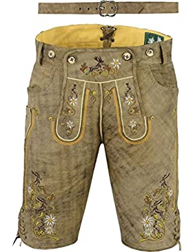 Lederhose mit Gürtel Herren Damen, echt Leder Nubuk Trachten Lederhose Herren kurz, Trachtenlederhose kurz Damen...