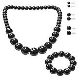 SoulCats Schmuck-Set, Perlenkette, Perlenarmband, 3 Paar Ohrstecker, Farbe:schwarz