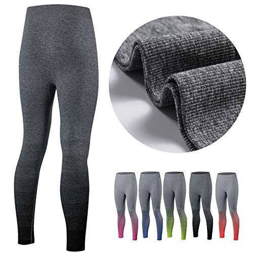 ESHOO Pantalons de sports course à pied Fitness Gym compression Legging Orange