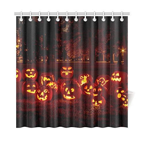 ad Vorhang Gruppe Kerze beleuchtet Geschnitzte Halloween Kürbisse Polyester Stoff wasserdicht Duschvorhang für Badezimmer, 72 x 72 Zoll Duschvorhang Haken enthalten ()