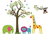 Best Design With Vinyl Decals Friend Items For Girls - E-Love Lovely Pictures Tree Animals Giraffe Elephant Monkey Review