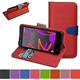 BQ Aquaris A4.5 / BQ Aquaris M4.5 Funda,Mama Mouth PU Cuero Billetera Cartera Monedero Con Soporte Funda Caso Case para BQ Aquaris A4.5 / BQ Aquaris M4.5 / M4.5 qHD 4G Smartphone,Rojo