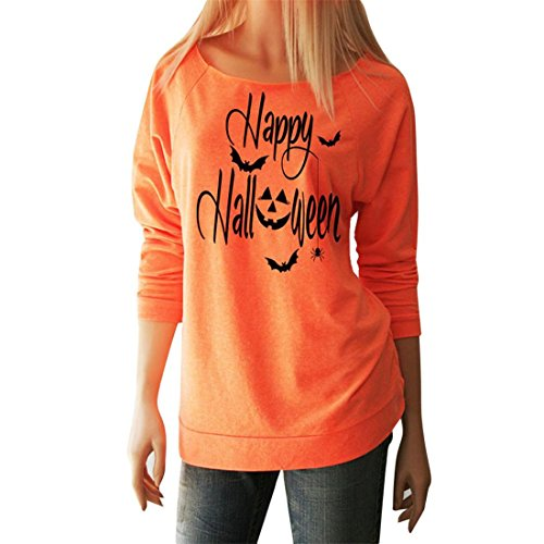 Halloween Tops Damen Btruely Langarm Sweatshirt Brief Drucken Beiläufig Pullover (S, Orange) (Orange Cami)