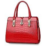 Krokodil-Muster Handtasche für Frauen Damen - Helle Lackleder / Hochwertige Umhängetasche / Europäischen und Amerikanischen Stil Handtasche / Klassisch und Funktions Tasche - Rot