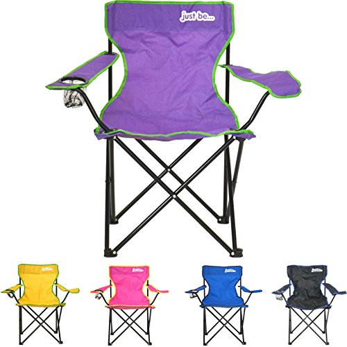 just be...® Silla de Acampada Plegable - Morada con Bordes Verdes