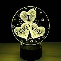 Personalisiertes LED Nachtlicht 3D mit Herz /& Rose und Schriftzug