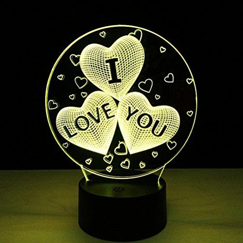 LEDMOMO 3D I LOVE You Herz optische Illusion der LED Lampe 7 Farbe Änderung Touch Schalter Fernbedienung Farben Änderungen Nachtlicht (ich liebe dich Herz) (Ich Touch Farbe)