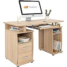 Comifort Mesa de Ordenador, Escritorio, Mesa de Oficina, 115x55x72 cm, color Roble Sonoma