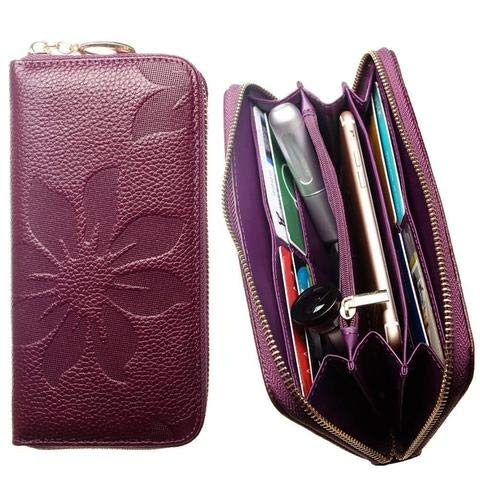 CellularOutfitter Leather Clutch/Wallet Case - Embossed Flower Design w/Multiple Card Slots and Compartments - Purple -