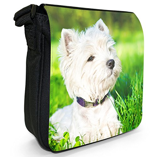 West Highland Terrier cane Piccolo Nero Tela Borsa a tracolla, taglia S Westie White Dog in Grass
