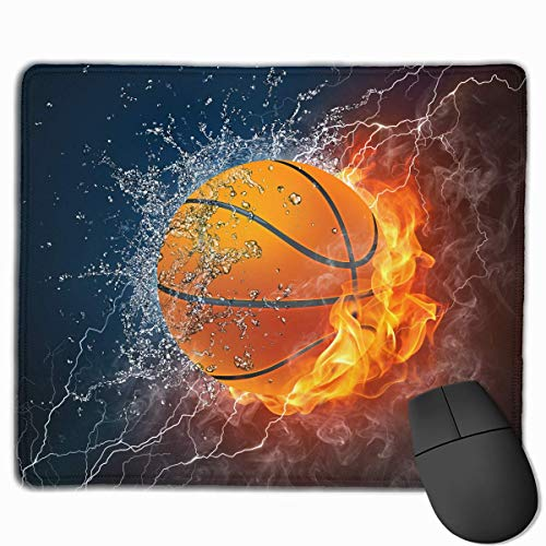 ASKSSD Mouse Pad Cool Basketball with Water Fire Rectangle Rubber Mousepad 11.81 X 9.84 Inch Gaming Mouse Pad with Black Lock Edge (Billig In Basketbälle Bulk)