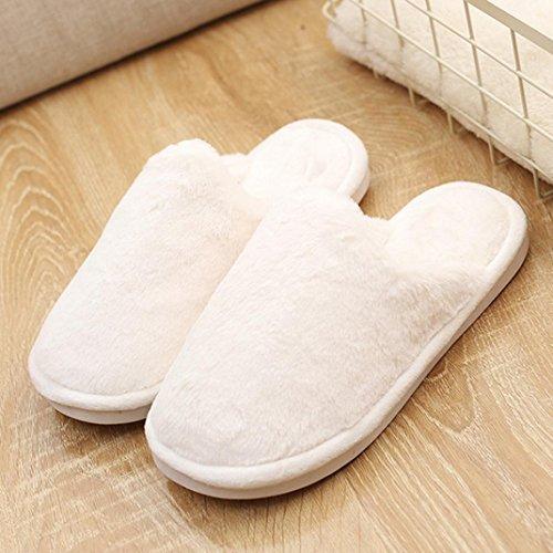 Hlhn Femme Plat Anti-dérapant Doux Duveteux Fausse Fourrure Pantoufle Tongs Sandales Chaussures, Rose, Grand Blanc