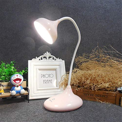 LED Augenschutz Lerntischlampe Touch 3-Gang-Dimmer Beleuchtung USB wiederaufladbare Nachttischlampe Nachtlicht + pink -