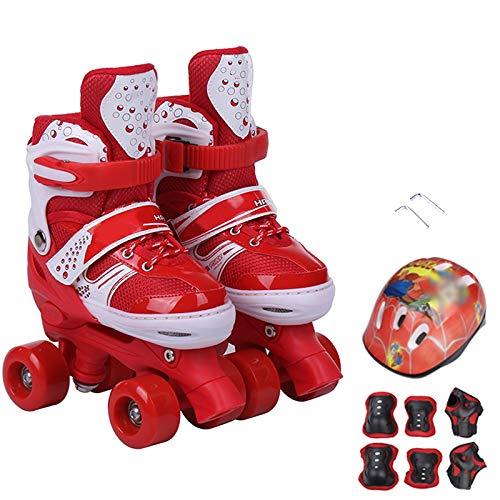 SKATE Zweireihig Rollschuhe Einstellbar Kinder Atmungsaktiv Rollerblades Anfänger Kinder Kinder Jungen Mädchen Schlittschuh Set Roller (Farbe : Red, größe :...