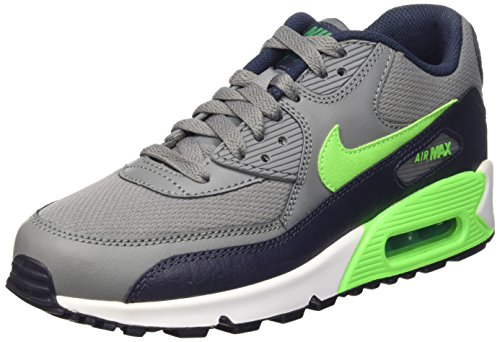 Nike Air Max 90 Mesh (Gs), gymnastique mixte enfant Jaune (Cl Grey/Vltg Grn-Obsdn-Lcd Grn)
