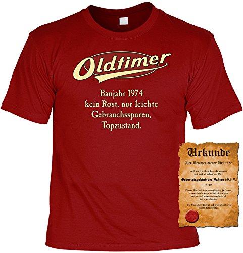 Witziges Geburtstags-Spaß-Shirt + gratis Fun-Urkunde: Oldtimer Baujahr 1974 Dunkelrot