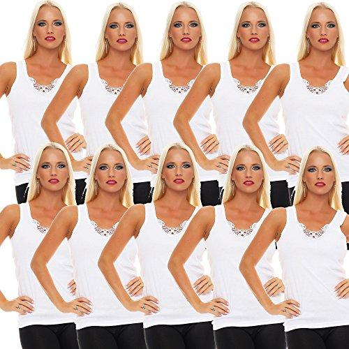 10er Pack Damen Unterhemd mit Spitze 427