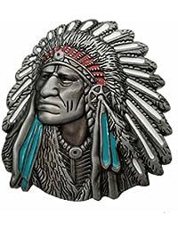 YONE Hebilla de cinturón Native American Indian Chief Belt Buckle
