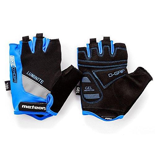 Fahrradhandschuhe meteor GEL GX30 Blau für Radsport MTB Road Race Downhill Wandern und andere Sports (M, Blau)
