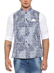 SHOWOFF Mens Cotton Sleeveless Slim Fit Printed Blue Nehru Jacket
