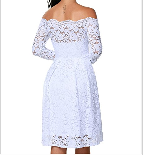 YaoDgFa Sexy Damen Kleider Spitze Abendkleid Cocktailkleid Partykleid  Rockabilly Kleid Knielang Festlich Langarm Off Schulter Retro ... 05dc7ecce7
