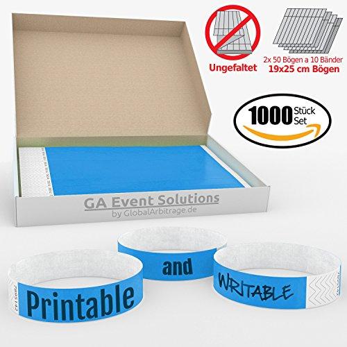 GA Event Solutions Einlassband aus Tyvek, 1000 Hellblau