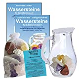 EDELSTEIN WASSER ANTI STRESS RELAX 5-tlg SET. 300g WASSERSTEINE zur Wasseraufbereitung für Trinkwasser + 1,0 L Glaskrug Karaffe + Anleitung + Zubehör. 90033-2