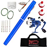 #9: Hunting Hobby World's Mini Fishing Pen Rod, Ready to Use, Pocket Metal, Pole, with Spinning Reel