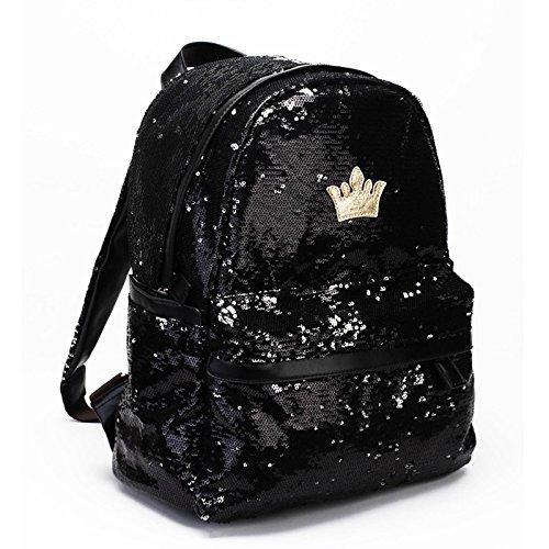 corona Zaino - SODIAL(R)Borsa Donne Corona Zaini Canvas Signora della ragazza Studente di scuola Travel Bag Paillette Bling Nero femminile